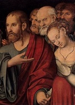 Lucas_Cranach_d._J._-_Christ_and_the_Woman_Taken_in_Adultery_-_WGA05733